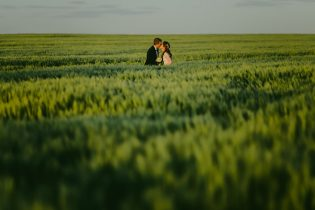 Bride and groom kissing on a green cropfield in Estonia