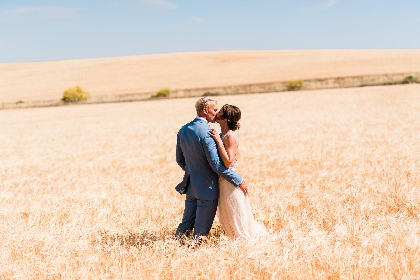 Pruut ja peigmees koos kuldsel viljapõllul Hispaanias pulmafotograaf